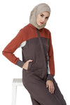 Rabbit Grey & Etruscan Red Jilbab Abaya