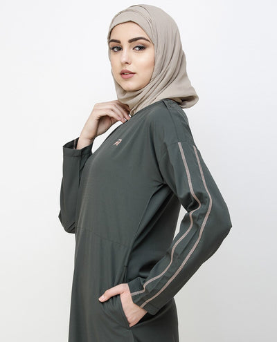 Beluga Grey Dropped Shoulder Jilbab Abaya