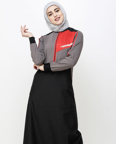 Black And Grey Kangaroo Pocket Jilbab Abaya