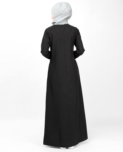 Black Contrast Trim High Low Jilbab Abaya
