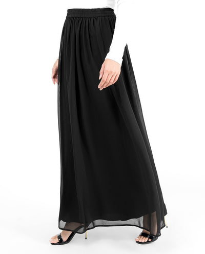 Black Flared Lined Skirt