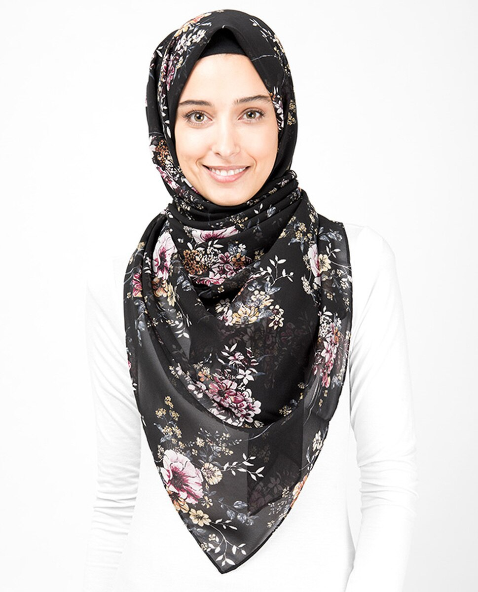 Black Floral Bunch Print Hijab