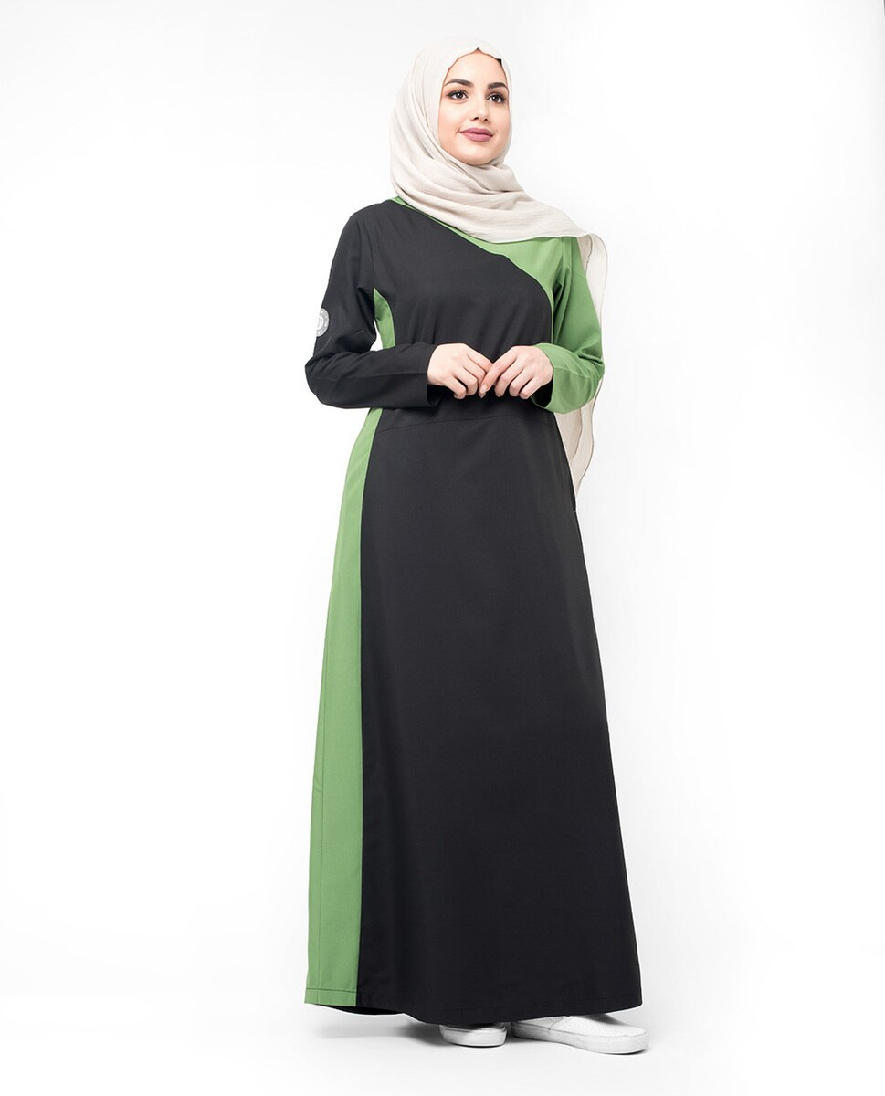 Black & Green Colour Blocking Jilbab Abaya