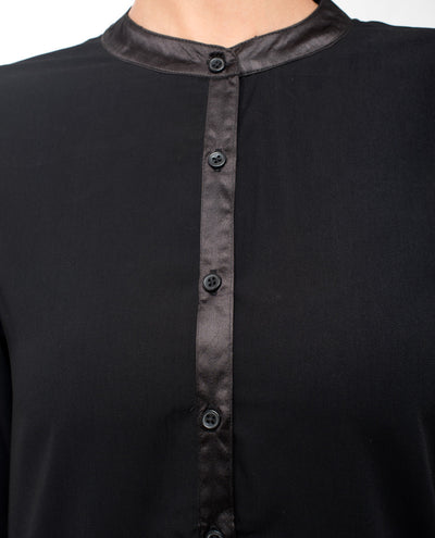 Black High Low Satin Detail Shirt Dress