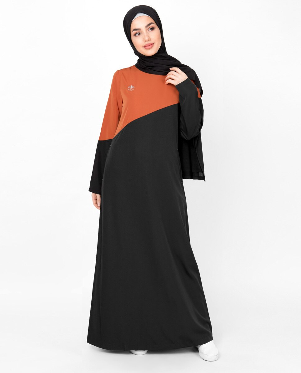 Black & Orange Diagonal Contrast Abaya Jilbab
