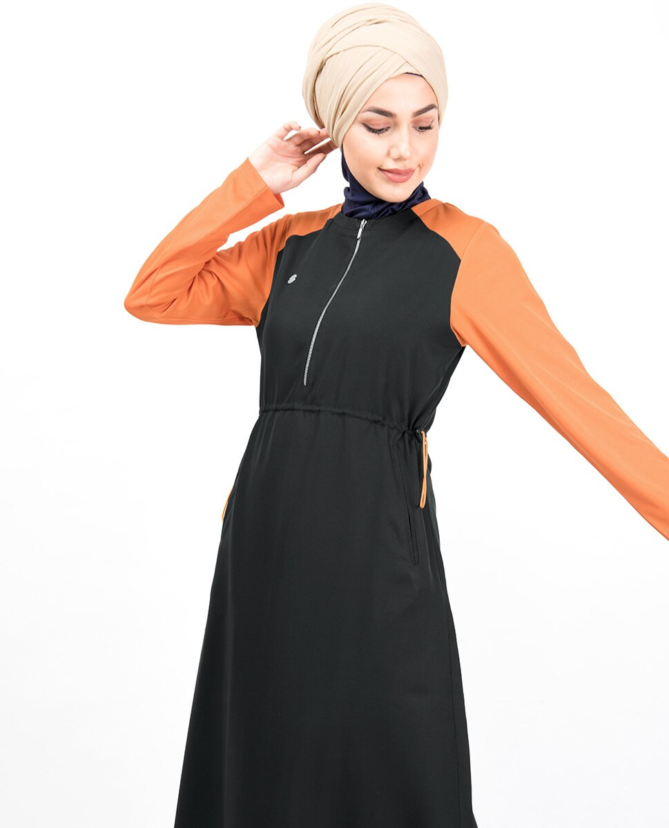 Black & Orange Toggle Zipper Abaya Jilbab
