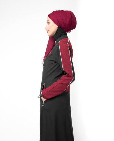 Black & Red Contrast Zipper Jilbab Abaya