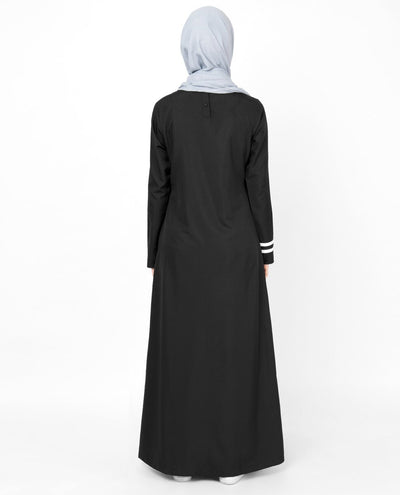 Black & White Top Stitch Abaya Jilbab