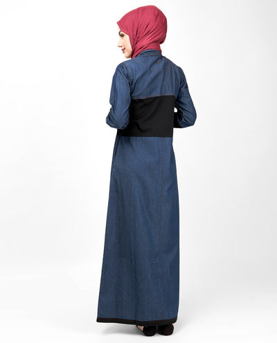 Blue & Black Full Front Open Denim Abaya Jilbab