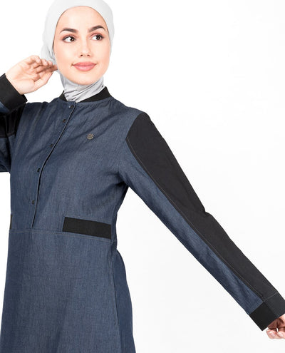 Blue Denim Contrast Sleeve Jilbab Abaya