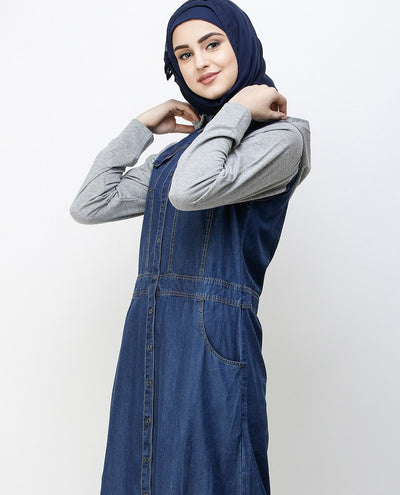 Blue Denim Detachable Hoodie Full Front Open Jilbab Abaya