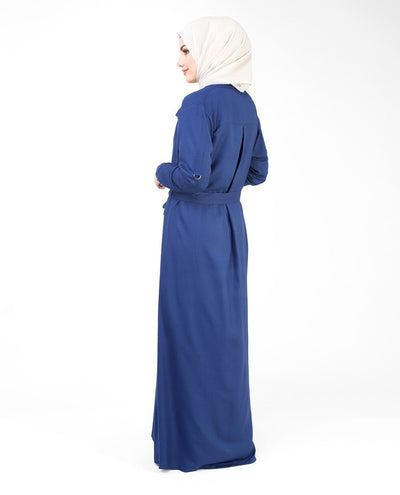 Blue Full Length Viscose Outerwear #