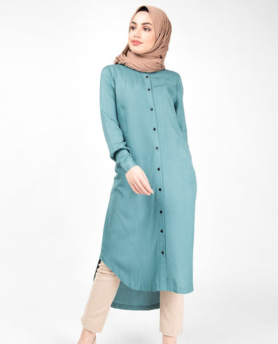 Blue Smoke High Low Shirt Dress