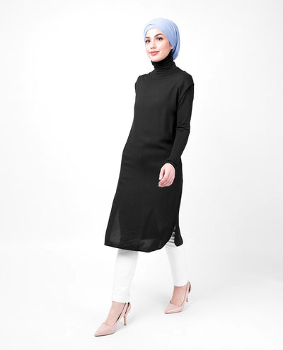 Boat Neck Black Sleeveless Slip Shirt Dress