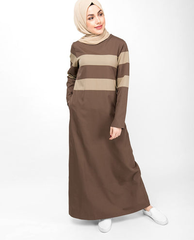 Brown Contrast Striping Jilbab Abaya