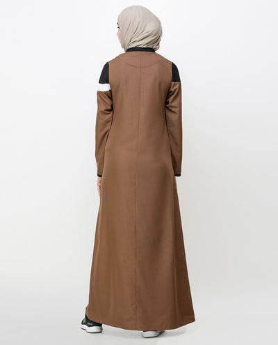 Brown Patina Kangaroo Pocket Jilbab Abaya