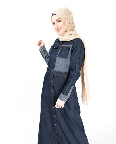 Contrast Chambray Full Front Open Denim Abaya Jilbab