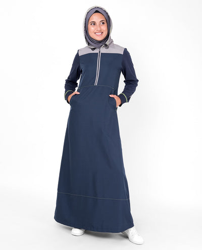 Deep Blue Hooded Kangaroo Pocket Jilbab Abaya