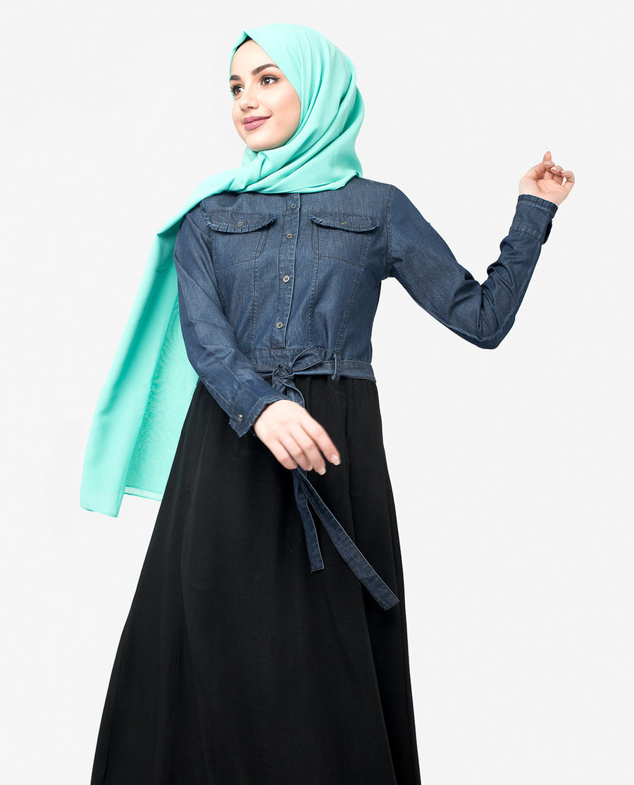 Denim & Black Skirt Jilbab