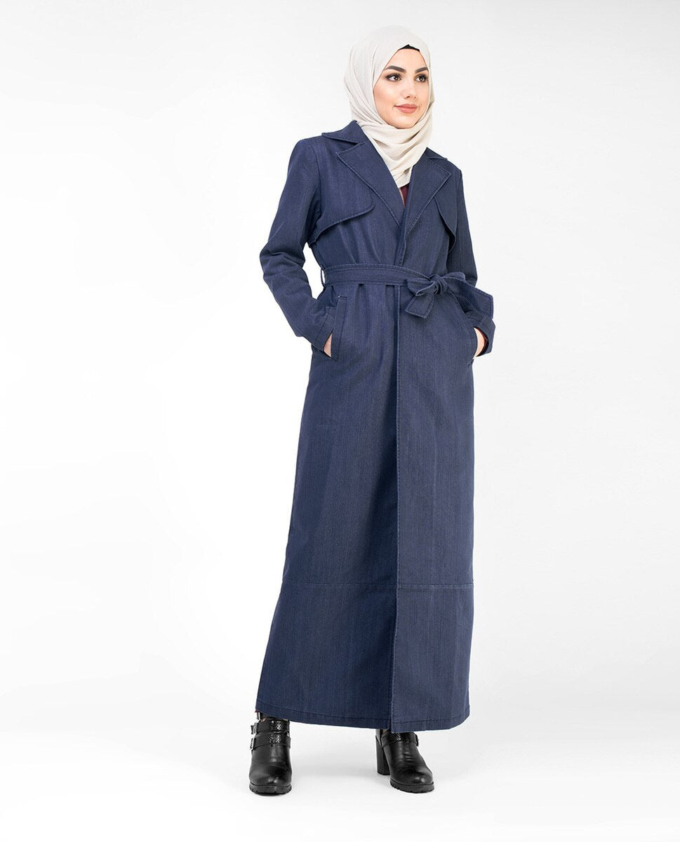 Denim Full Length Trench Coat Abaya