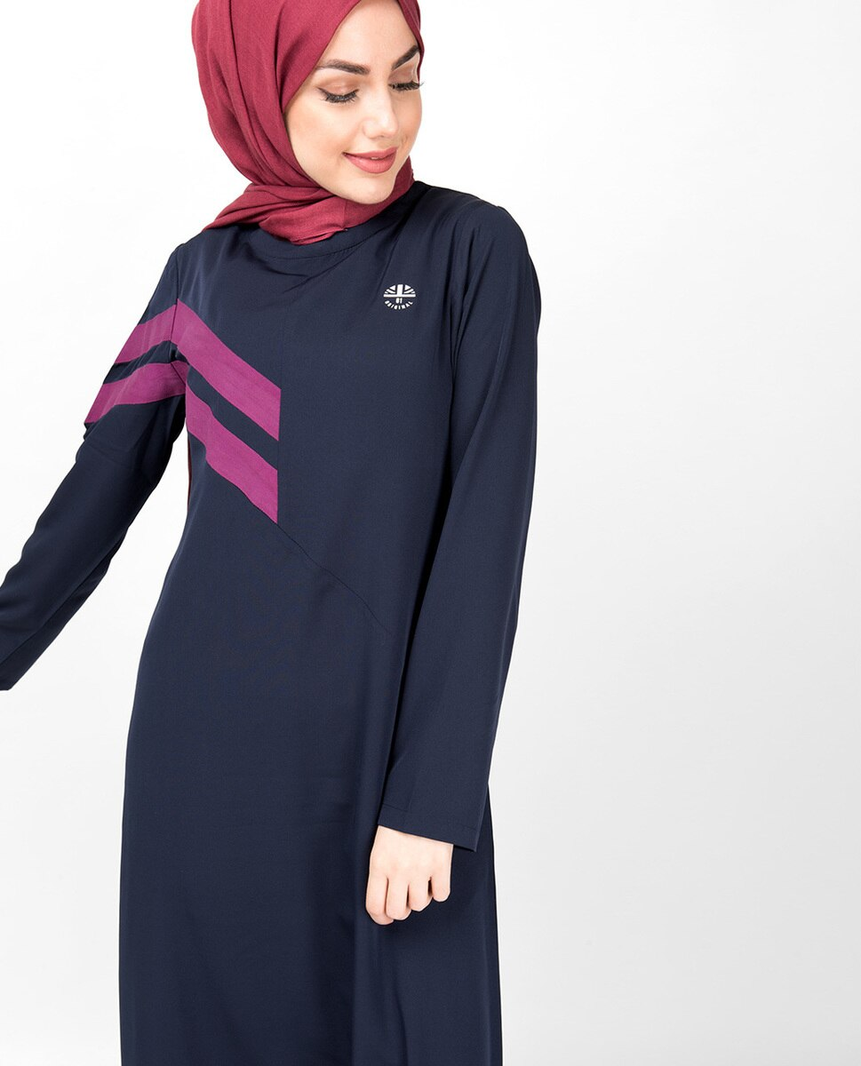 Double Stripe Navy Casual Abaya Jilbab