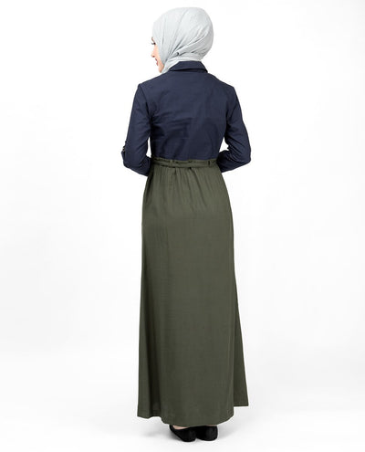 Flared Contrast Skirt Look Abaya Jilbab