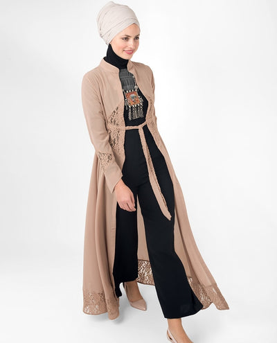 Full Length Sand Elegant Lace Modest Outerwear Abaya #