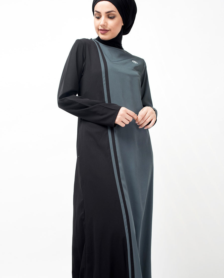 Grey & Black Vertical Color Block Jilbab