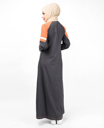 Grey & Orange Raised Neck Abaya Jilbab