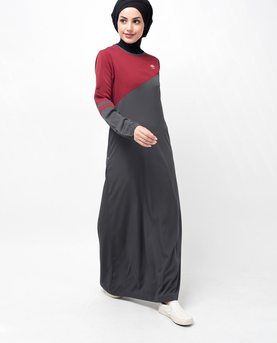 Grey and Red Color Block Abaya Jilbab