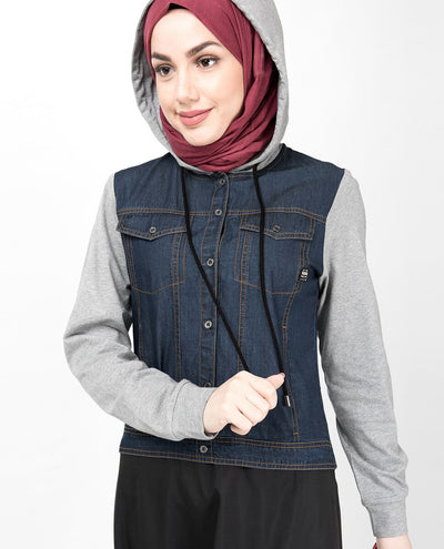 Hooded Jersey & Denim Jilbab Abaya