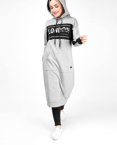 Kangaroo Pocket Grey Hooded Midi