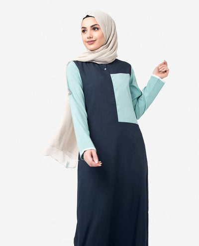 Navy & Blue Colour Blocking Jilbab Abaya