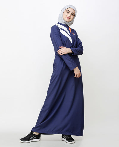 Navy Blue Jilbab With Chevron Contrast Stripes Jilbab Abaya
