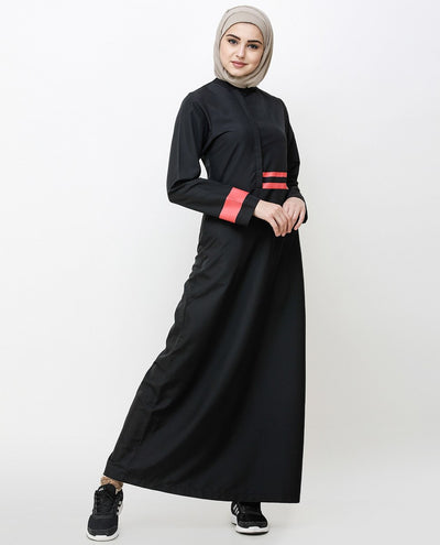 Off Center Black Placket Jilbab Abaya