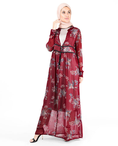 Red Floral Gathered Waist Poly Chiffon Outerwear