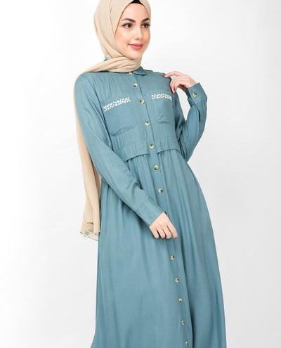 Smoke Blue Full Front Open Layered Abaya Jilbab