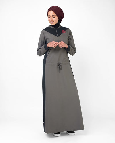 Active Athletic Grey and Black Casual Abaya Jilbab S 54 Grey