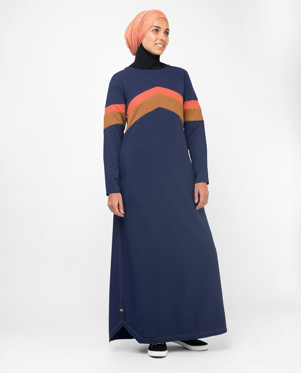 Active Orange Highlight Retro Abaya Jilbab S 54 Navy