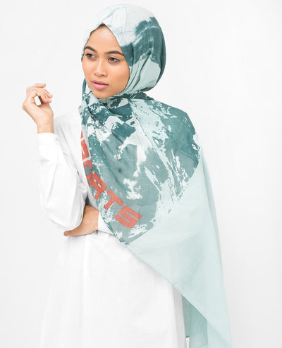 Aqua Abstract Print Viscose Hijab Regular