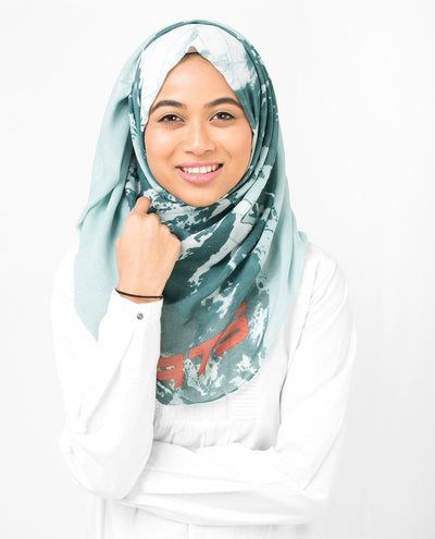 Aqua Abstract Print Viscose Hijab Maxi