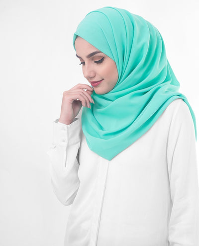 Aqua Green Poly Georgette Hijab Regular Aqua Green