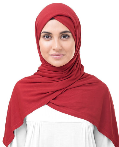 Aurora Red Viscose Jersey Hijab Medium Aurora Red