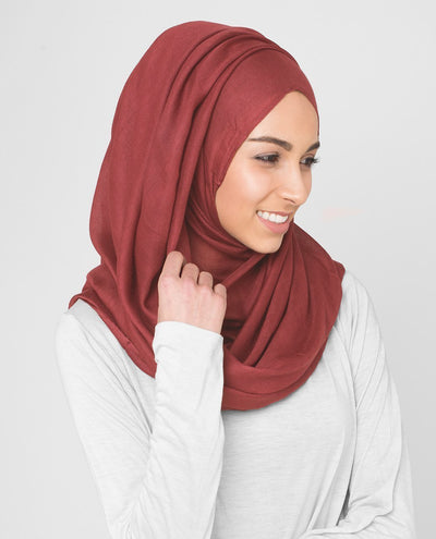 Backed Apple Viscose Woven Hijab Regular Red
