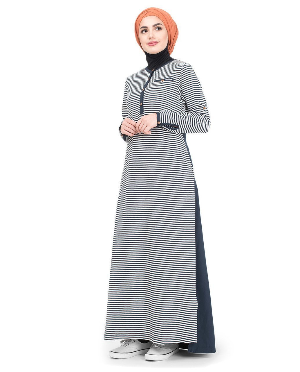 Beautiful Navy White Striped Mix Fabric Abaya or Jilbab S 54 Navy