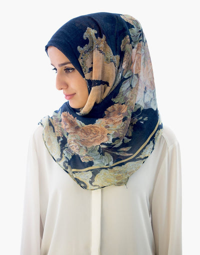 Beauty and the Rose Hijab Navy