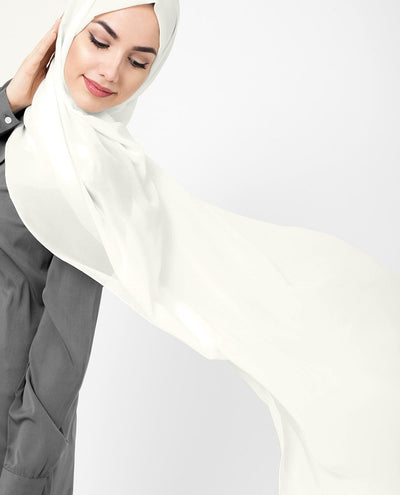 Bit of White Poly Georgette Hijab Regular