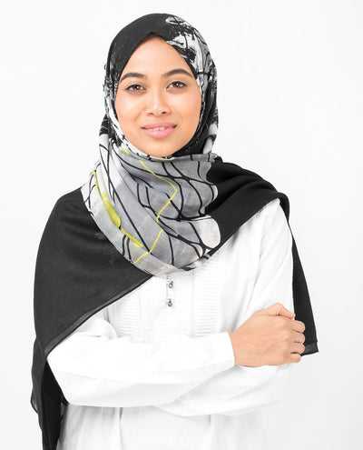 Black Abstract Print Viscose Hijab Large Black