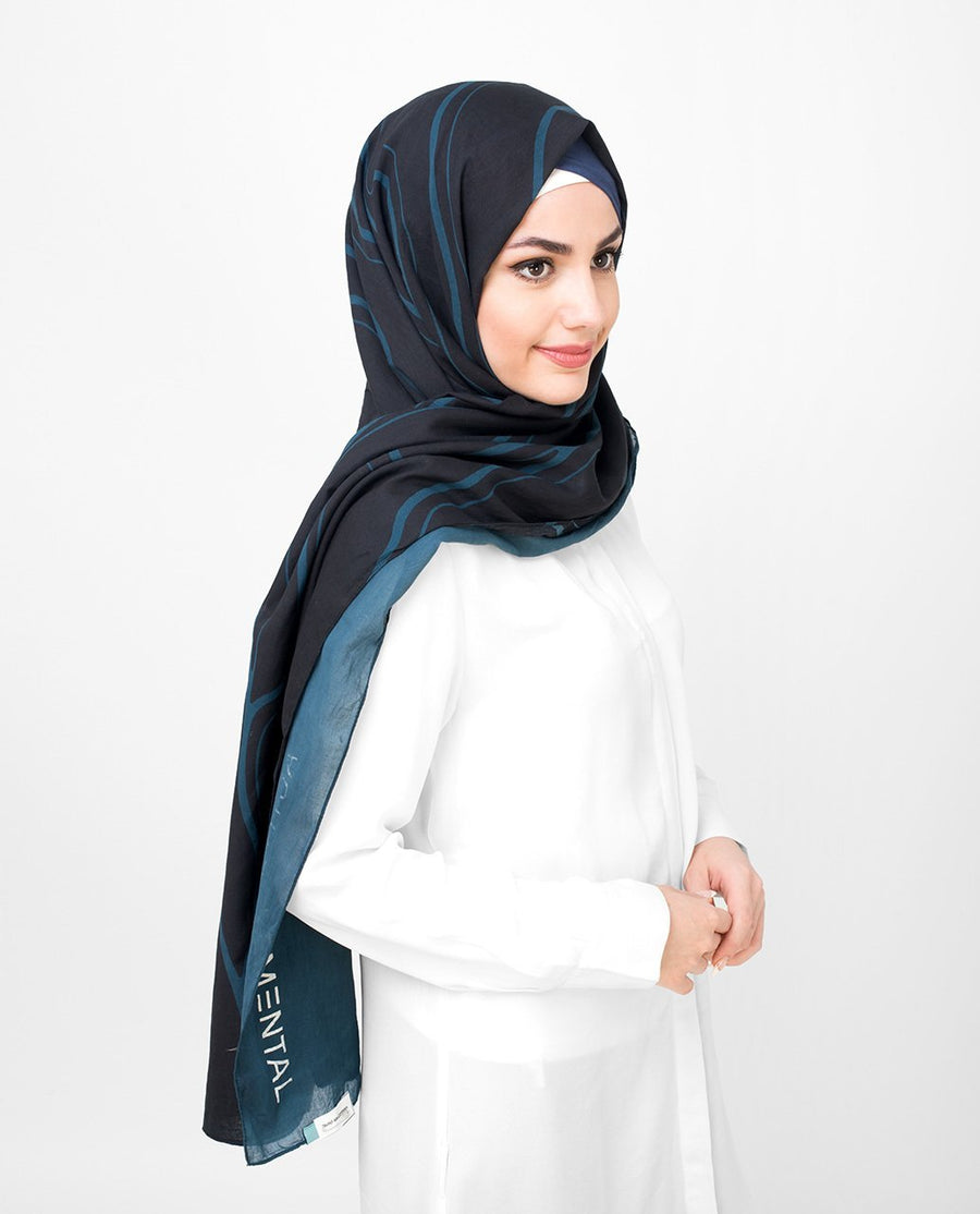 Black and Blue Cotton Voil Hijab