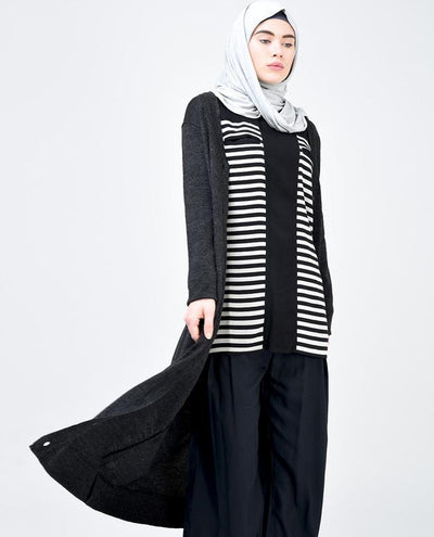 Black and Light Grey Striped Top Slim